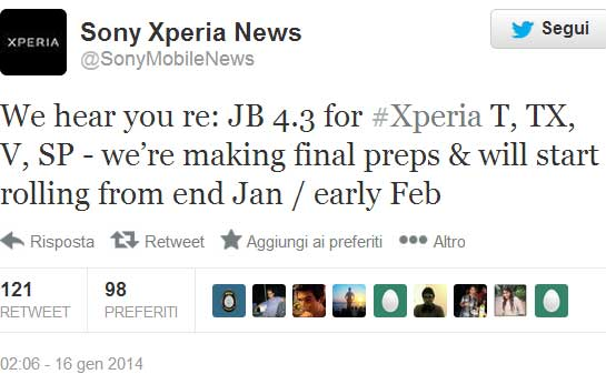 Twitter Sony Mobile News