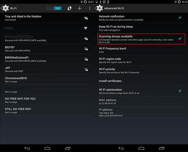NEXUS 5 - WiFi Scanning option